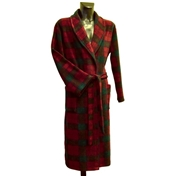 Fleece Dressing Gown - Wine, Blue & Green Check