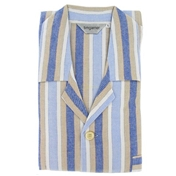 Traditional Thick Cotton Pyjamas - Blue/Beige Stripe