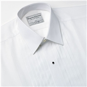 Wide Pleat Standard Collar Evening Shirt - With Studs