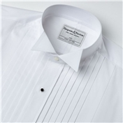 Wide Pleat Wing Collar Evening Shirt - With Studs