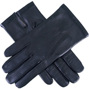 Dents Men'sSilk Lined Leather Gloves - Black