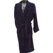 Men's Velour Dressing Gown - Navy