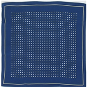 Mens Silk Handkerchief - Silk Pocket Handkerchief - Navy With Yellow Spots and Border