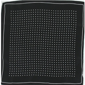Mens Silk Handkerchief - Silk Pocket Handkerchief - Black With White Spots and Border