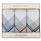 Men's Handkerchiefs - Large Gift Box Of 3 Blue/Red/Grey Striped Border Pattern