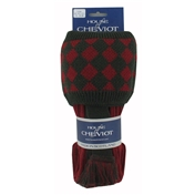 House Of Cheviot Chessboard Socks & Garter Ties - Brick Red and Dark Loden