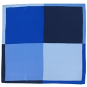 Silk Pocket Handkerchief - Four Quaters With Borders Of Opposite Colours - Navy / Blue