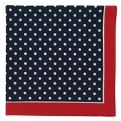 Bandana or Large Handkerchief - Navy with Small White Polka Dot Red Border