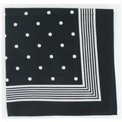 Bandana or Large Handkerchief - Black With White Polka Dots