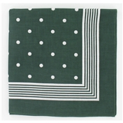 Bandana or Large Handkerchief - Green With White Polka Dots