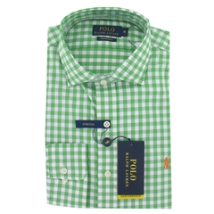Ralph Lauren Long Sleeve Shirt- Green White Check - Medium Only
