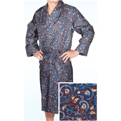 Men's Silk Dressing Gown - Navy Swirl Design