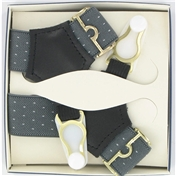 Gentleman's Sock Suspenders - Grey Pindot