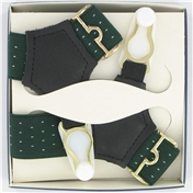 Gentleman's Sock Suspenders - Green Pindot