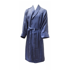 Men's Silk Dressing Gown - Navy Polka Dot