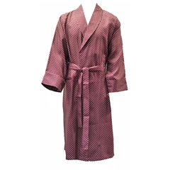 Men's Silk Dressing Gown - Wine Polka Dot