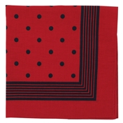 Bandana or Large Handkerchief - Large Red With Navy Polka Dots