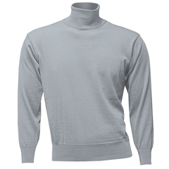 Men's Fine Merino Wool Franco Ponti Roll Neck Sweater - Silver