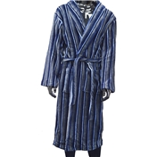 Fleece Dressing Gown - Navy, Blue and Grey Stripe