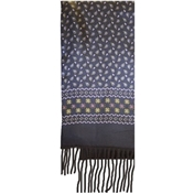 Brown Paisley Patterned Wool-Backed Silk Scarf