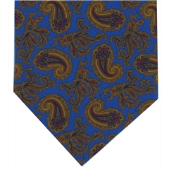 Men's Silk Cravat - Royal Blue Paisley