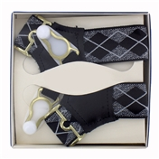 Gentleman's Sock Suspenders - Black Lurex