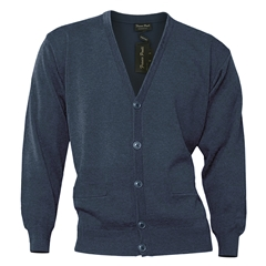 Mens Franco Ponti Button Front Cardigan in Denim