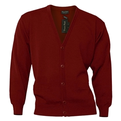 Mens Franco Ponti Button Front Cardigan in Burgundy