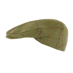 Teflon Coated Tweed Wool Flat Cap in Light Green with Red Overcheck