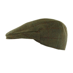 Teflon Coated Tweed Wool Flat Cap in Dark Green with Brown/ Green Overcheck