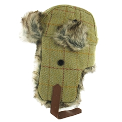 Tweed Trapper with Faux Fur in Light Green