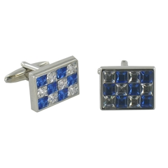 Blue and Clear Crystal Rectangular Cufflinks