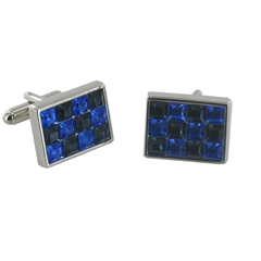 Blue and Black Crystal Rectangular Cufflinks