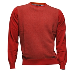 Fynch Hatton - Crew Neck Sweater - Neat Red/Taupe - CLEARANCE