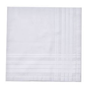 Men's Hemstitched Handkerchief White Satin Border- Excellent Quality Cotton