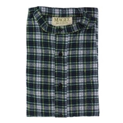 Magee Men's Navy and Yellow Check Brushed Cotton Nightshirt - Dress Gordon Design