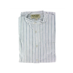 Magee Men's Thin Blue Stripe Brushed Cotton Nightshirt - Blue Stripe