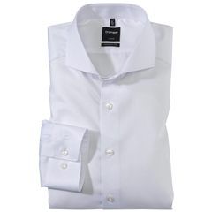 Olymp Modern Fit Shirt - Fine Twill with Cutaway Collar - White