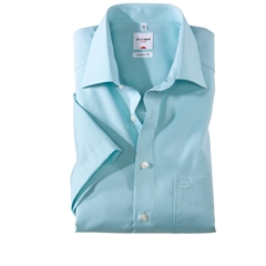 Olymp Comfort Fit Short Sleeve Shirt - Chambray - Mint