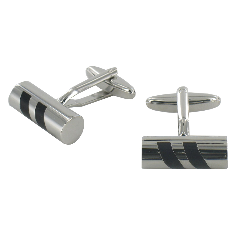 Cylinder Cufflinks with Black Diagonal Inserts