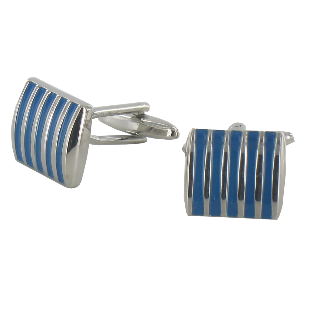 Curved Blue Striped English Cufflinks
