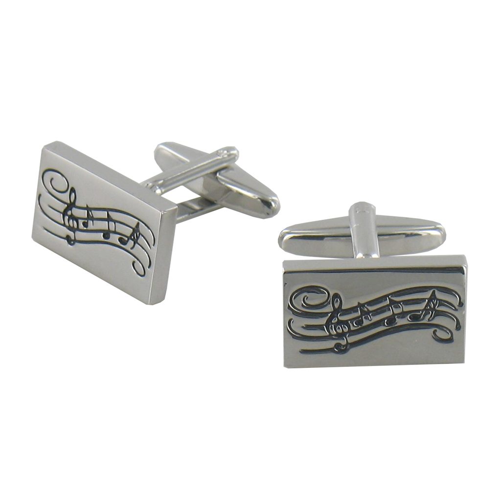 Rectangular Sheet Music Design Cufflinks
