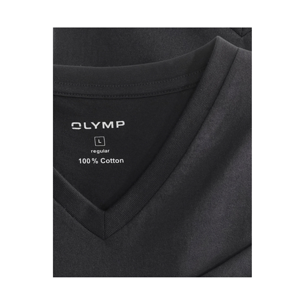 Olymp T-shirt Black Vee Neck - Double Pack