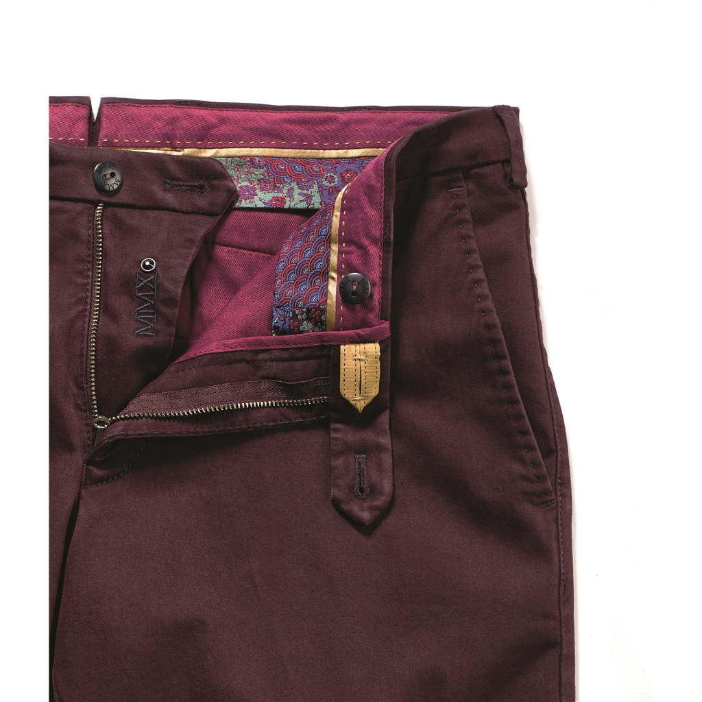 New Autumn 2017 Meyer MMX Trousers - Pima Sateen Cotton Burgundy