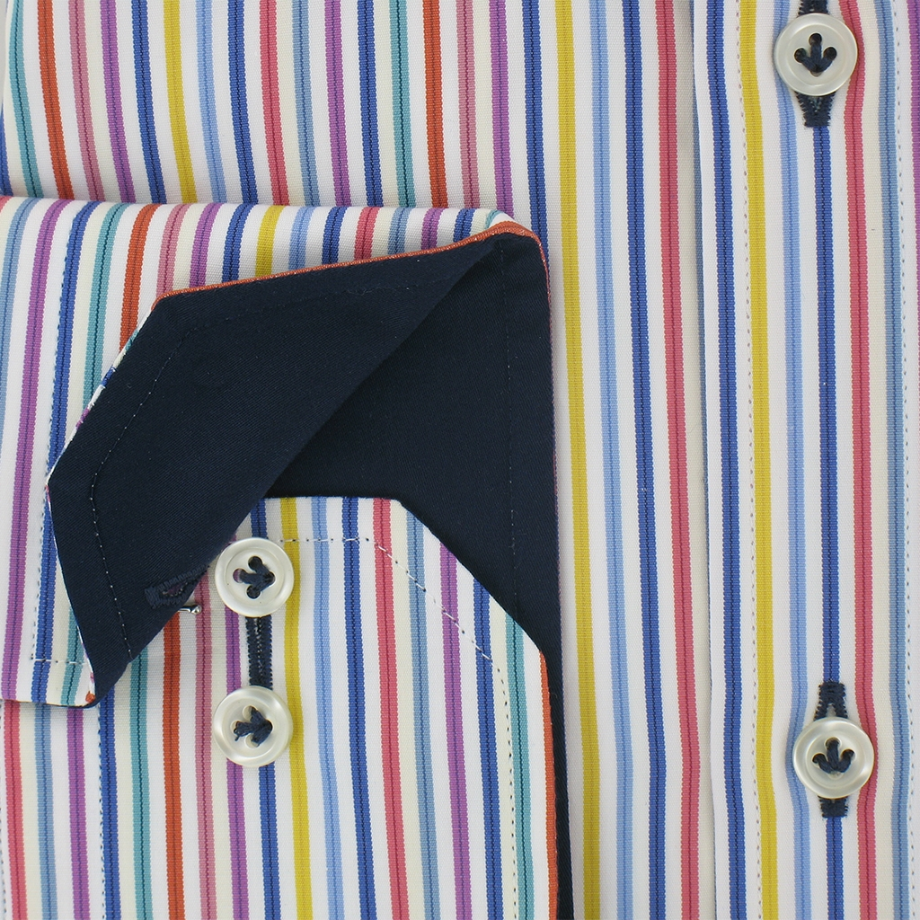 Giordano Shirt Modern Fit Cotton Shirt - Multi Stripe - CLEARANCE - Size XL Only