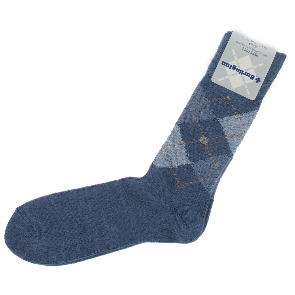 Burlington Socks - Preston Denim Blue Argyle Socks