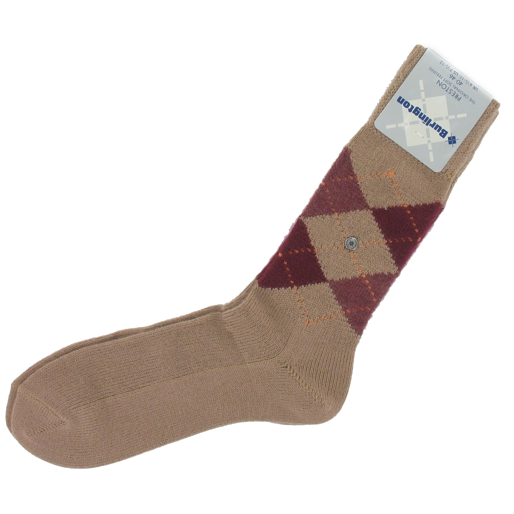 Burlington Socks - Preston Beige Argyle Socks
