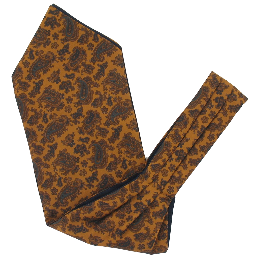 Men's Silk Cravat - Classic Gold Paisley