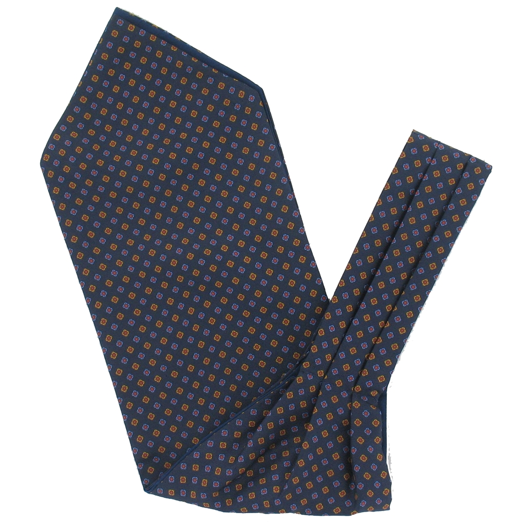 Men's Silk Cravat - Classic Navy Diamond