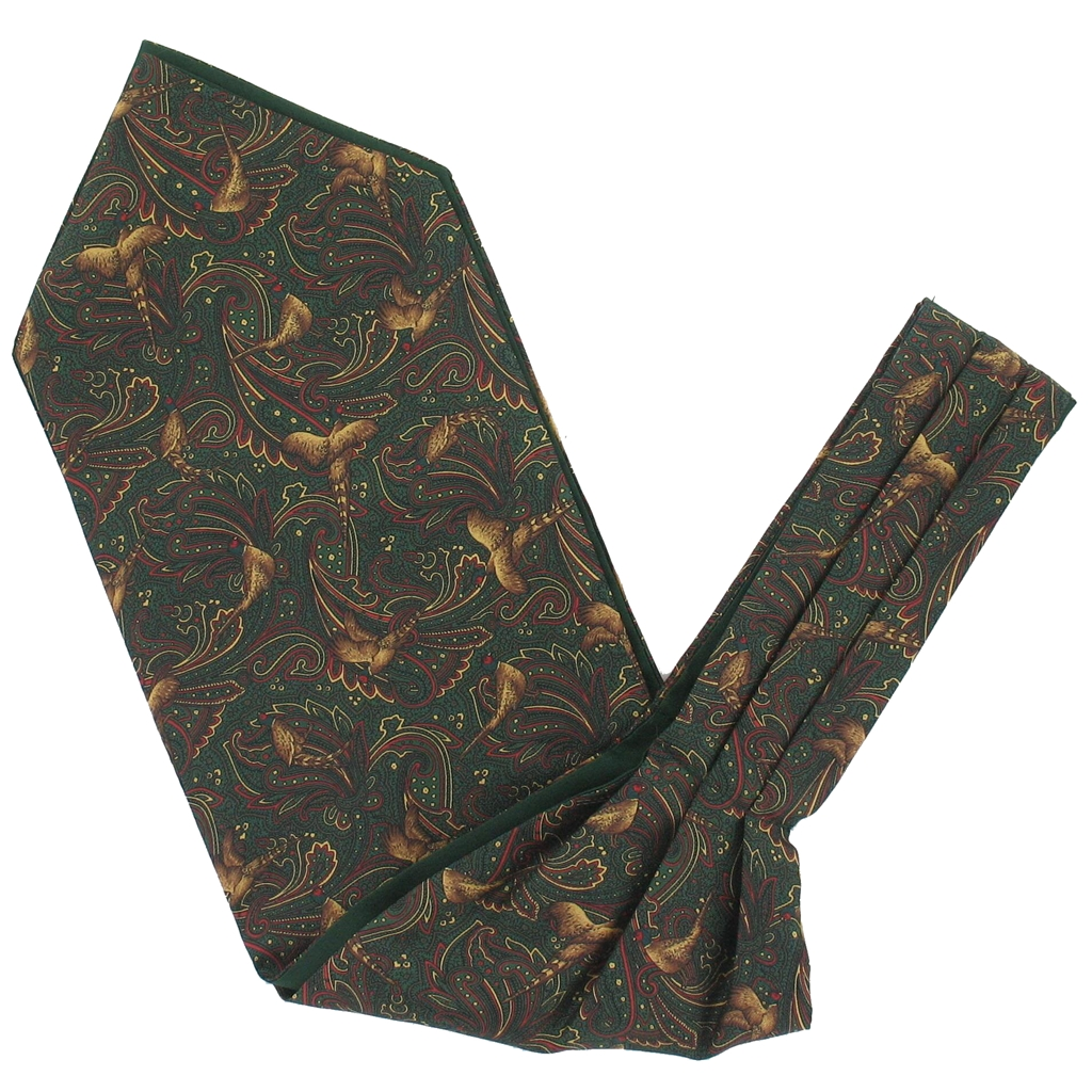 Men's Silk Cravat - Green Pheasant Design
